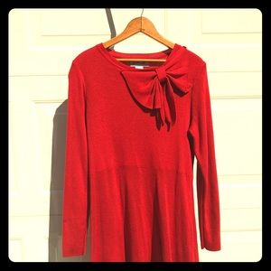Red Jessica H bow sweater dress